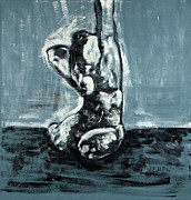 Nude Paintings - Bold Expressionistic Figure Painting of Nude Female Reaching Upward to the Sky with Her Arm in BW by MendyZ M Zimmerman