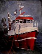 Boat Paintings - Bold Power by Art Nomad Sandra  Hansen