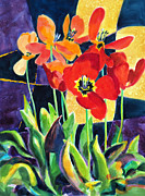 Outdoor Still Life Painting Prints - Bold Quilted Tulips Print by Kathy Braud