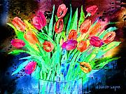 Tulip Mixed Media - Bold Tulips by Arline Wagner