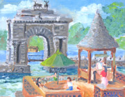 Alexandria Paintings - Boldt Castle-Heart Island Hots by Robert P Hedden