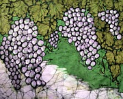 Wine Vineyard Tapestries - Textiles Prints - Bolero Grapes Print by Kristine Allphin