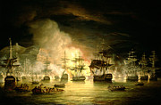 Seascapes Posters - Bombardment of Algiers Poster by Thomas Luny