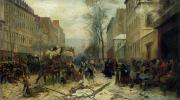 Urban Winter Scenes Framed Prints - Bombardment of Paris in 1871 Framed Print by Felix Philippoteaux