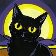 Black Cat Posters - Bombay Moon Poster by Leanne Wilkes