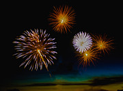 Yellow Black White Silver Prints - Bombs Bursting In The Air Print by Robert Bales