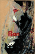 Red Cat Wine Prints - Bon ami Print by Una Lune