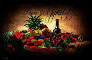 Fruit And Wine Metal Prints - Bon Appetit Metal Print by Lourry Legarde