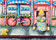 Pink Reliefs Prints - Bon Bon Betty Print by Alison  Galvan