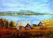 Abandoned Houses Painting Posters - Bonaventure Island And Perce Rock Quebec Landscape And Summer Seascape Poster by Carole Spandau