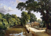 Geese Paintings - Bonchurch Isle of Wight by Jasper Francis Cropsey