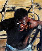 Black Man Painting Prints - Bondage Print by John Lautermilch