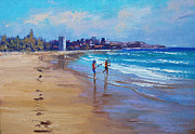 Sand Dunes Painting Framed Prints - Bondi Beach Fishing Framed Print by Graham Gercken