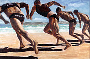 Bondi Paintings - Bondi Boys by Gaye White