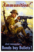 World War One Digital Art Metal Prints - Bonds Buy Bullets Metal Print by War Is Hell Store