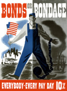 American Flag Digital Art Posters - Bonds Or Bondage Poster by War Is Hell Store
