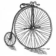 Bike Drawings Prints - Boneshaker Bicycle Print by Karl Addison