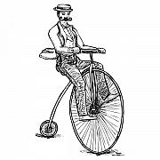 Bicycle Drawings Posters - Boneshaker Velocipede Bicycle Poster by Karl Addison