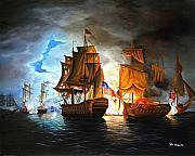 Ocean Posters - Bonhomme Richard engaging The Serapis in Battle Poster by Paul Walsh