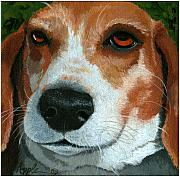 Linda Apple Prints - Bonnie - Beagle painting Print by Linda Apple
