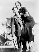 1930s Fashion Art - Bonnie And Clyde During Their 21 Month by Everett