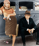 Gangster Films Art - Bonnie And Clyde, From Left Faye by Everett