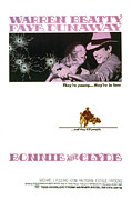 1960s Poster Art Posters - Bonnie And Clyde,  Warren Beatty Poster by Everett