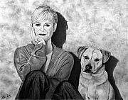 Celebrity Sketch Drawings - Bonnie Hunt and Charlie by Peter Piatt