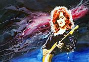 Guitarists Painting Originals - Bonnie Raitt by Ken Meyer jr