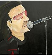 U2 Painting Metal Prints - Bono Metal Print by Colin O neill