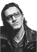 Spiritual Energy Art Drawings - Bono by Marianne NANA Betts