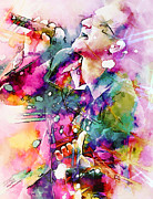 Bono Painting Prints - Bono singing Print by Rosalina Atanasova