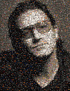 Adam Mixed Media Prints - Bono U2 Albums mosaic Print by Paul Van Scott