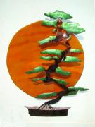 Stainless Steel Mixed Media Metal Prints - Bonsai at Sunset Metal Print by Diane Snider