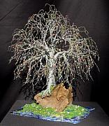 Island Sculptures - Bonsai Island No. 2 - Wire Tree Sculpture by Sal Villano