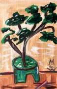 Visionary Art Drawings - Bonsai by Mary Carol Williams