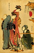 Kimono Framed Prints - Bonsai Seller 1800 Framed Print by Padre Art