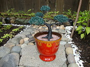 Wire Tree Sculptures - Bonsai Tree Medium Red Glass Vase Planter by Scott Faucett
