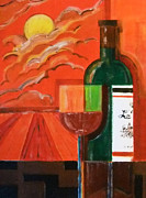 Wine Vineyard Mixed Media Prints - Bonsoir Bordeaux Print by Zbigniew Rusin