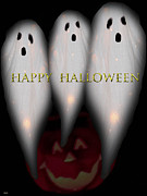 Spooky Card Mixed Media Posters - Boo-boo-boo Poster by Debra     Vatalaro