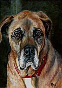 Best Friends Paintings - Boo for Dogtown by Mary-Lee Sanders