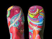 Peter Max Paintings - Boogie Shoes 2 by Mary Johnson