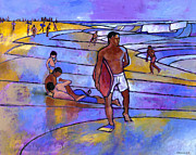 Purples Paintings - Boogieboarding at Sandys by Douglas Simonson