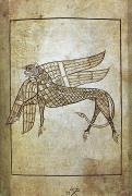 Griffin Framed Prints - BOOK OF DURROW, c680 A.D Framed Print by Granger