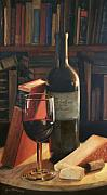 Red Wine Bottle Painting Posters - Booked for the Evening Poster by Anna Bain