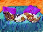 Basset Framed Prints - Bookends Framed Print by Karen Derrico