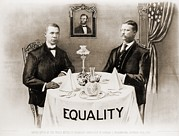 Discrimination Photo Prints - Booker T. Washington Dines Print by Everett