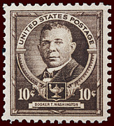 Booker T. Photo Framed Prints - Booker T Washington postage stamp Framed Print by James Hill