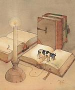 Books Framed Prints - Bookish Cow Framed Print by Kestutis Kasparavicius