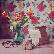 Square Art - Books And Tulips by Julia Davila-Lampe